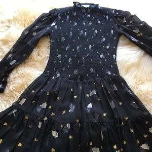 Silk Holiday Dress with Gold & Silver Detail
